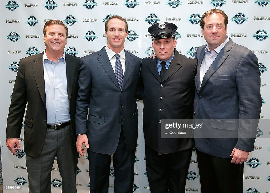 Dave Lindsey, Drew Brees, Billy Smith and Mike Lintz attend the 27th Annual NFL-Sanctioned Super Bowl Breakfast>> at Marriott Marquis Times Square on January 31, 2014 in New York City.
