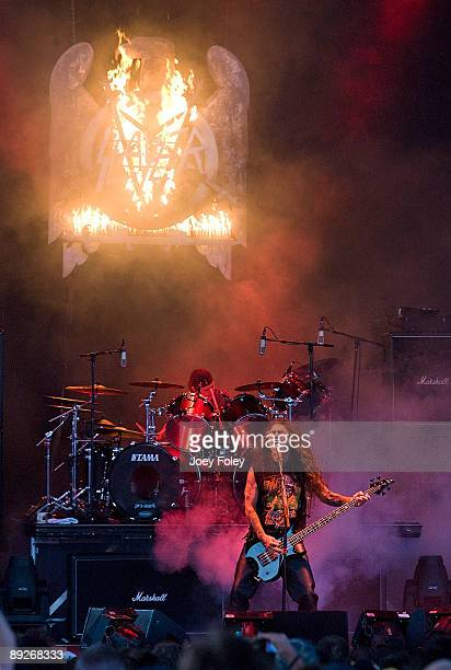 Dave Lombardo and Tom Araya of SLAYER perform in concert at the Rockstar Energy Drink Mayhem Festival at Verizon Wireless Music Center on July 25,...