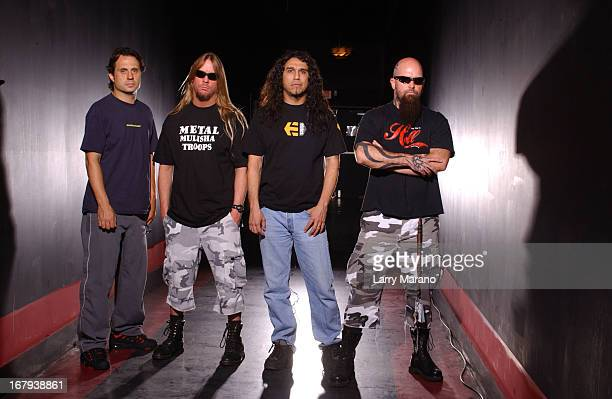 Dave Lombardo Jeff Hanneman Tom Araya and Kerry King of Slayer pose for a portrait at Revolution on May 11 2002 in Fort Lauderdale Florida