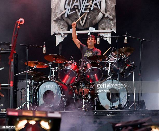 Dave Lombardo of SLAYER performs in concert at the Rockstar Energy Drink Mayhem Festival at Verizon Wireless Music Center on July 25 2009 in...