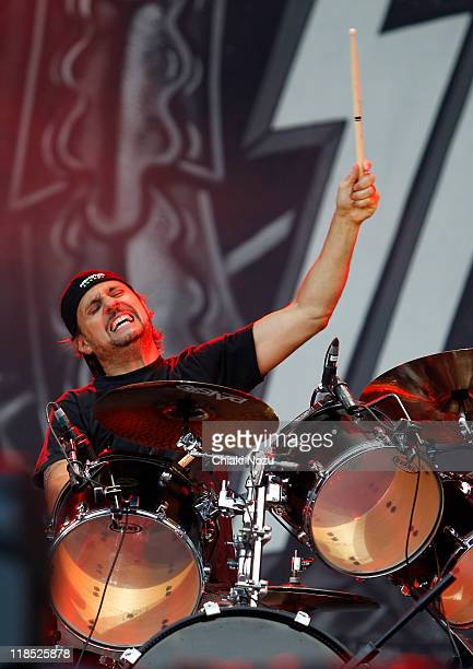 Dave Lombardo of Slayer performs on day one of the Sonisphere festival at Knebworth House on July 8 2011 in Stevenage England