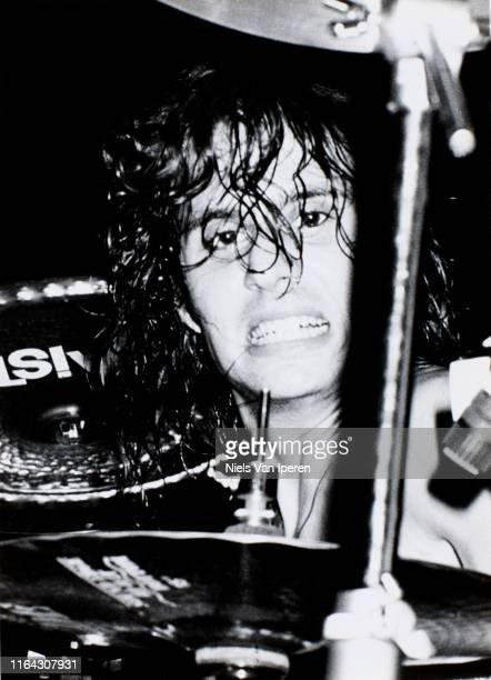 Dave Lombardo Slayer performing on stage Dynamo Eindhoven Netherlands 28th May 1985