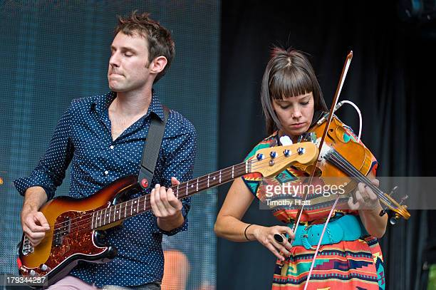 Dave Lowensohn and Lauren Jacobson of Ramona Falls perform at Bumbershoot at Seattle Center on September 1 2013 in Seattle Washington