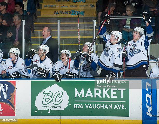 Dave Lowry head coach and the Victoria Royals celebrate a goal against the Kelowna Rockets on October 9 2015 at Prospera Place in Kelowna British...