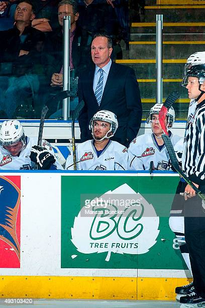 Dave Lowry head coach of the Victoria Royals stands on the bench against the Kelowna Rockets on October 9 2015 at Prospera Place in Kelowna British...