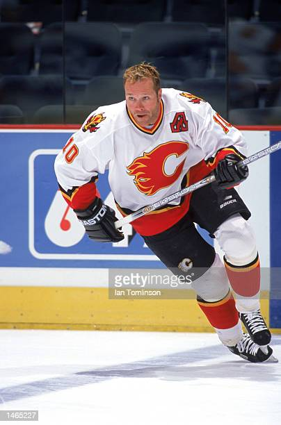 Dave Lowry of the Calgary Flames moves on the ice during practice before the game against the Minnesota Wild on September 232002 at the Pengrowth...