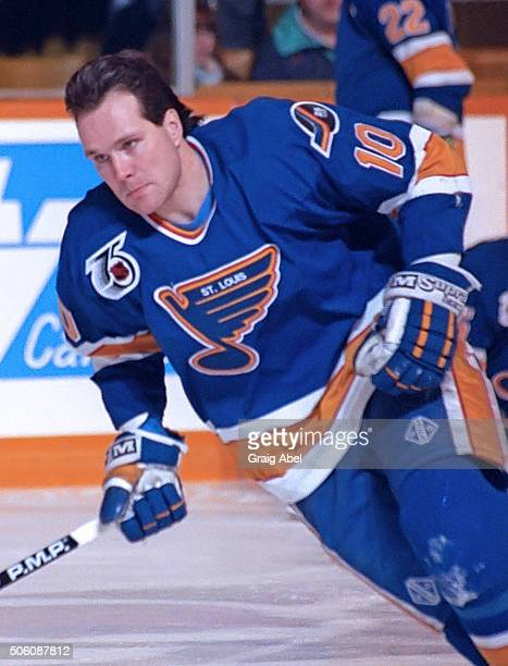 Dave Lowry of the St Louis Blues skates in warmup prior to a game against the Toronto Maple Leafs at Maple Leaf Gardens in Toronto Ontario Canada on...