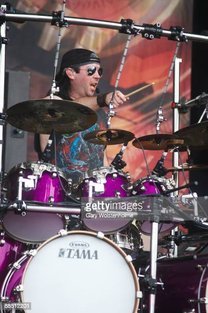 Dave Mackintosh of Dragonforce performs on stage on day 2 of Download Festival at Donington Park on June 13 2009 in Donington England