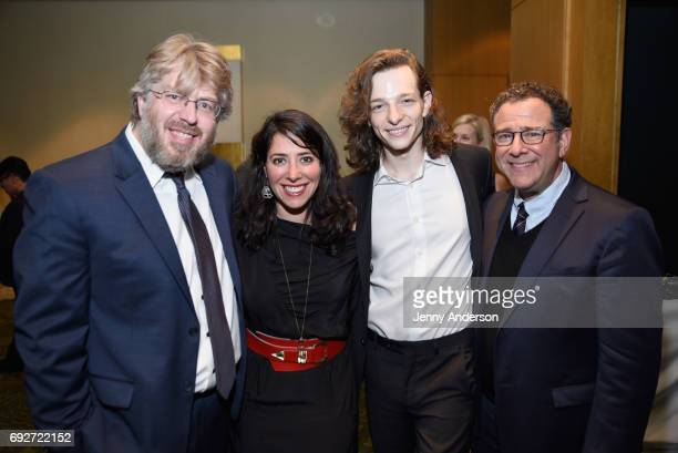 Dave Malloy Rachel Chavkin Mike Faist and Michael Greif attend the Tony Honors Cocktail Party Presenting The 2017 Tony Honors For Excellence In The...