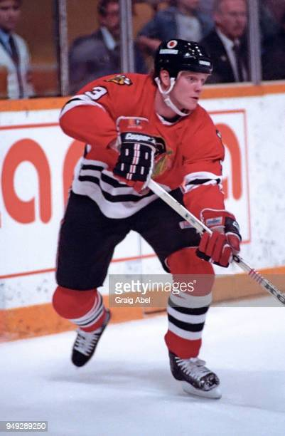Dave Manson of the Chicago Black Hawks skates against the Toronto Maple Leafs during NHL game action on November 23 1988 at Maple Leaf Gardens in...