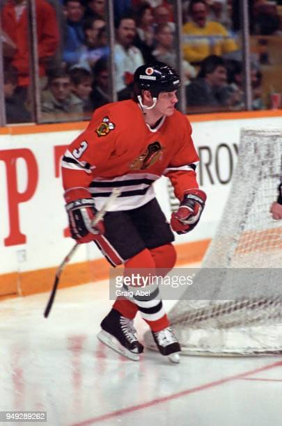 Dave Manson of the Chicago Black Hawks skates against the Toronto Maple Leafs during NHL game action on March 4 1989 at Maple Leaf Gardens in Toronto...
