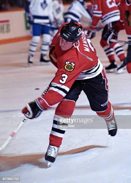 Dave Manson of the Chicago Black Hawks skates against the Toronto Maple Leafs during NHL game action on December 23 1989 at Maple Leaf Gardens in...