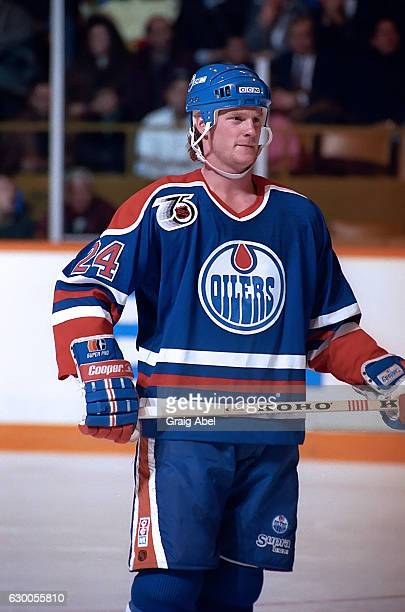 Dave Manson of the Edmonton Oilers prepares for the faceoff against the Toronto Maple Leafs during NHL game action on December 18 1991 at Maple Leaf...