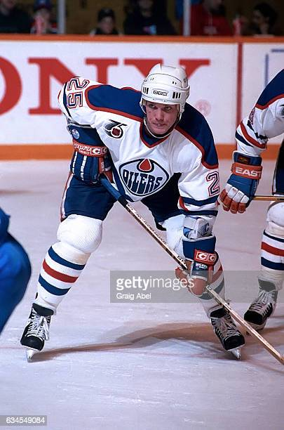 Dave Manson of the Edmonton Oilers prepares for the faceoff against the Toronto Maple Leafs during NHL game action on February 16 1992 at Maple Leaf...