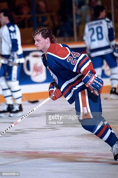 Dave Manson of the Edmonton Oilers skates in warmup prior to a game against the Toronto Maple Leafs on December 18 1991 at Maple Leaf Gardens in...