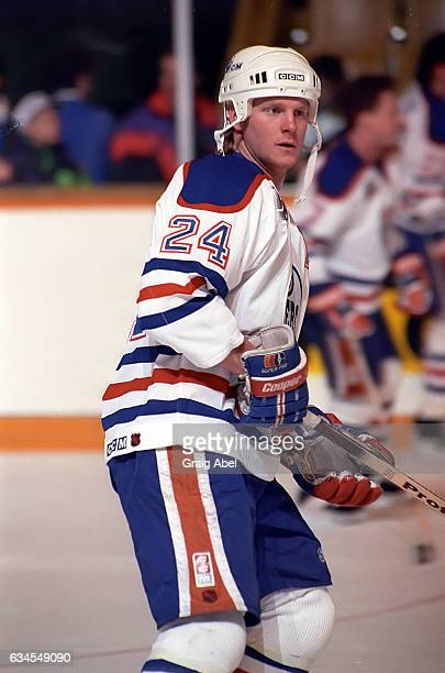 Dave Manson of the Edmonton Oilers skates in warmup prior to a game against the Toronto Maple Leafs on February 16 1992 at Maple Leaf Gardens in...