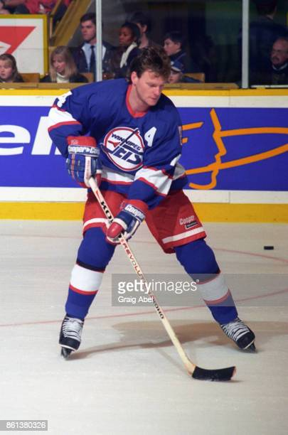 Dave Manson of the Winnipeg Jets skates against the Toronto Maple Leafs during NHL game action on November 18 1995 at Maple Leaf Gardens in Toronto...