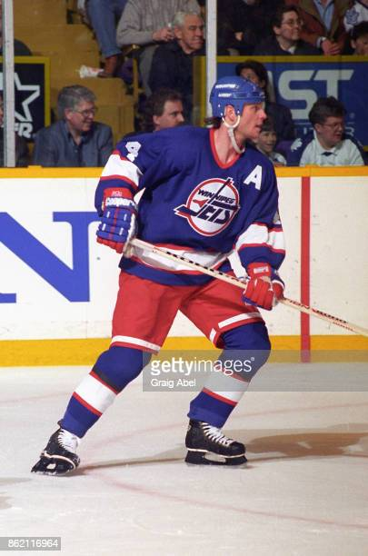 Dave Manson of the Winnipeg Jets skates against the Toronto Maple Leafs during NHL game action on March 13 1996 at Maple Leaf Gardens in Toronto...