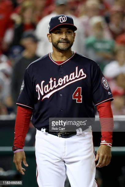 Dave Martinez of the Washington Nationals reacts against the Houston Astros during the fifth inning in Game Three of the 2019 World Series at...