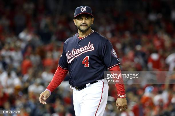 Dave Martinez of the Washington Nationals reacts against the Houston Astros during the ninth inning in Game Five of the 2019 World Series at...
