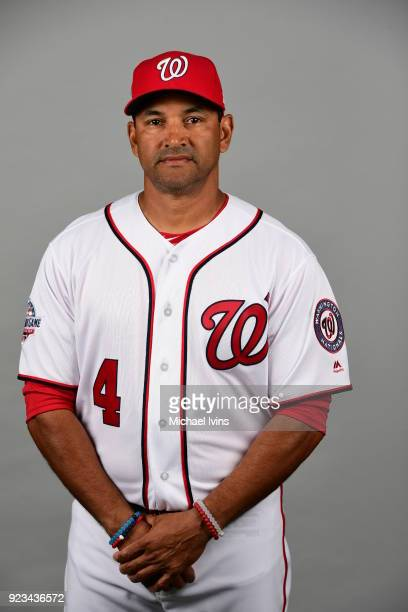 Dave Martinez poses during Photo Day on Thursday February 22 2018 at the Ballpark of Palm Beaches in West Palm Beach Florida
