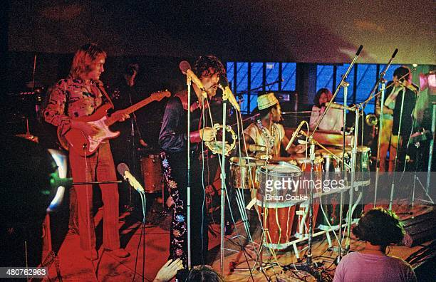 Dave Mason Jim Capaldi Reebop Kwaku Baah Steve Winwood and Chris Wood of Traffic performing in the canteen of the Polytechnic of Central London...