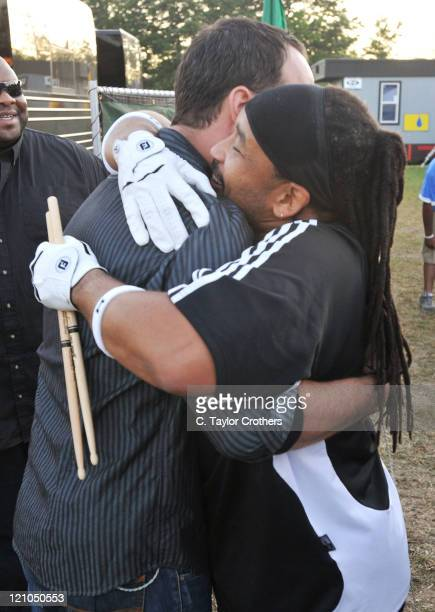 Dave Matthews and Carter Beauford of Dave Matthews Band backstage at The Odeum during Rothbury 2008 on July 5 2008 in Rothbury Michigan