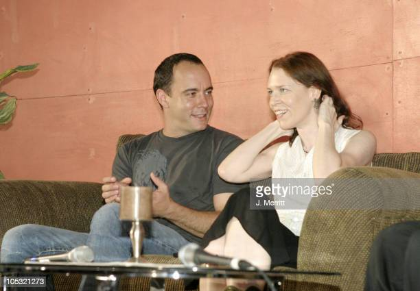 Dave Matthews and Gillian Welch during Bonnaroo 2004 Day 1 Dave Matthews Press Conference at Centeroo Performance Fields Press Tent in Manchester...