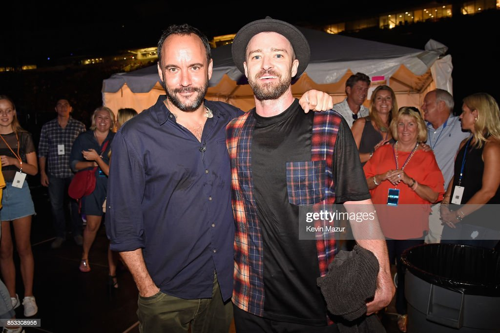 Dave Matthews (L) and Justin Timberlake pose backstage at 'A Concert for Charlottesville,' at University of Virginia's Scott Stadium on September 24, 2017 in Charlottesville, Virginia. Concert live-stream presented in partnership with Oath.