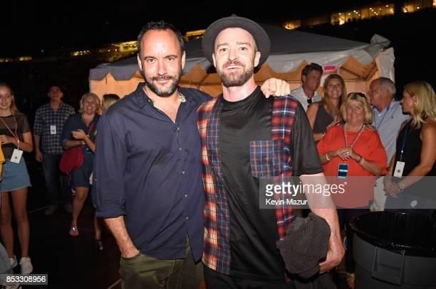 Dave Matthews and Justin Timberlake pose backstage at A Concert for Charlottesville at University of Virginia's Scott Stadium on September 24 2017 in...