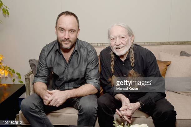 Dave Matthews and Willie Nelson attend the Producers & Engineers Wing 12th annual GRAMMY week event honoring Willie Nelson at Village Studios on...