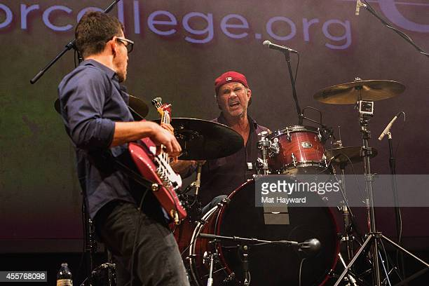 Dave Matthews band bassist Stefan Lessard and Red Hot Chili Peppers drummer Chad Smith perform on stage during 90 Minutes With Will Ferrell...