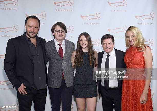 Dave Matthews Sam Michael Fox Esme Annabelle Fox Michael J Fox and Tracy Pollan attend Michael J Fox Foundation's 'A Funny Thing Happened On The Way...