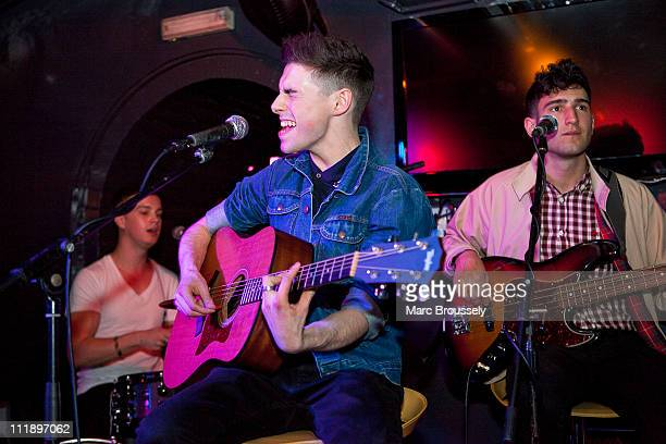 Dave May Robbie McDade and Jack Guppy of The Kixx perform a showcase for the press at Albannach on April 8 2011 in London United Kingdom