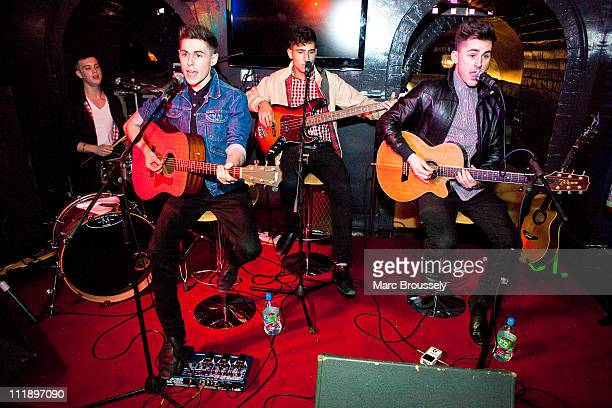 Dave May Robbie McDade Jack Guppy and David Gibbs of The Kixx perform a showcase for the press at Albannach on April 8 2011 in London United Kingdom