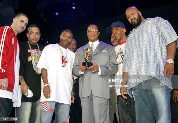 Dave Mays of The Source Benzino J Prince of Rapalot Minister Louis Farrakhan Russell Simmons and Suge Knight of Death Row during the The 2004 Source...