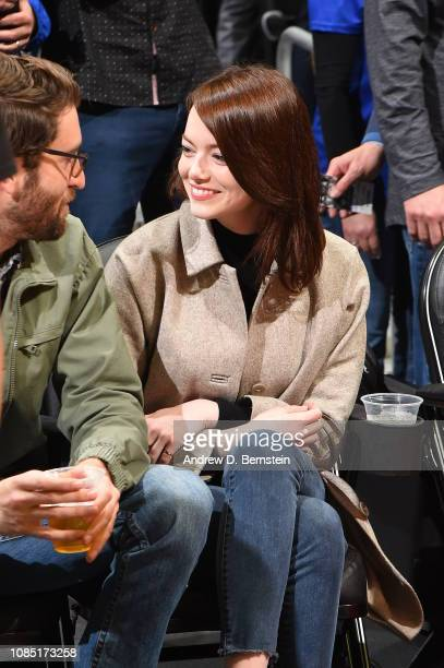 Dave McCary and Emma Stone attend a game between the Golden State Warriors and LA Clippers on January 18 2019 at STAPLES Center in Los Angeles...