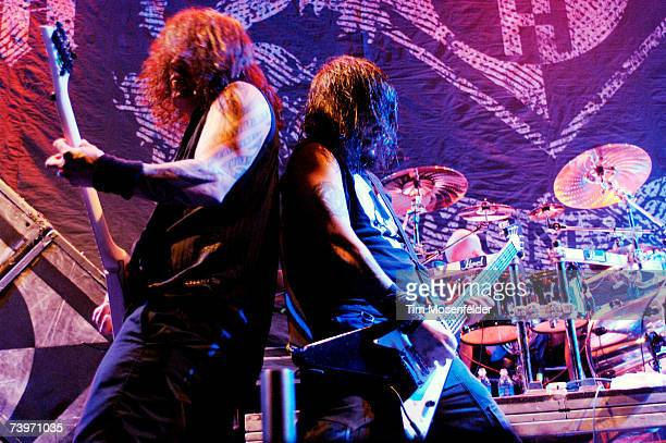 Dave McClain and Robert Flynn of Machine Head perform in support of the bands 'The Blackening' release at the HP Pavilion on April 24 2007 in San...