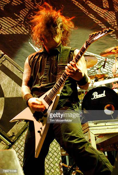 Dave McClain of Machine Head perform in support of the bands 'The Blackening' release at the HP Pavilion on April 24 2007 in San Jose California