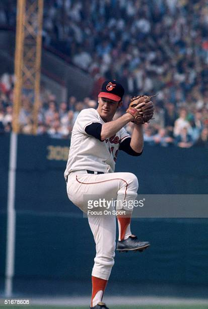 Dave McNally of the Baltimore Orioles pitches during game 3 of the 1970 World Series against the Cincinnati Reds at Memorial Stadium on October 13...