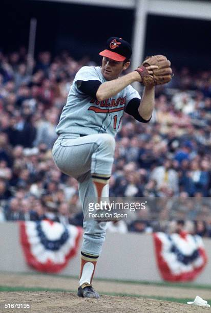Dave McNally of the Baltimore Orioles throws a pitch against the New York Mets during the World Series at Shea Stadium on October 1969 in Flushing...