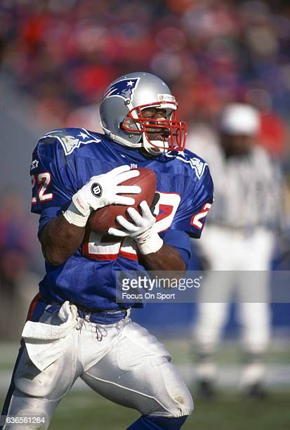 Dave Meggett of the New England Patriots returns a kickoff during an NFL football game circa 1996 at Foxboro Stadium in Foxborough Massachusetts...