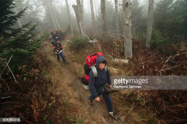 Dave Melonakos and Sons Hiking on Trail