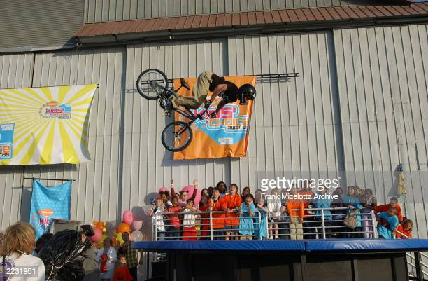 Dave Mirra backflips his bike into a 4000 gallon vat of slime on the 15th Annual Nickelodeon Kid's Choice Awards at The Barker Hanger in Santa Monica...