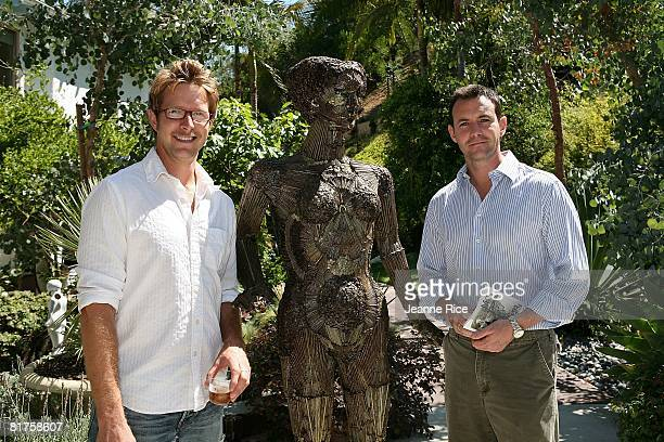 Dave Monahan and Larry Sullivan attend the Trigg Ison Fine art exhibit for the work of Maxine Kim StussyFrankel at her home June 28 2008 in Los...