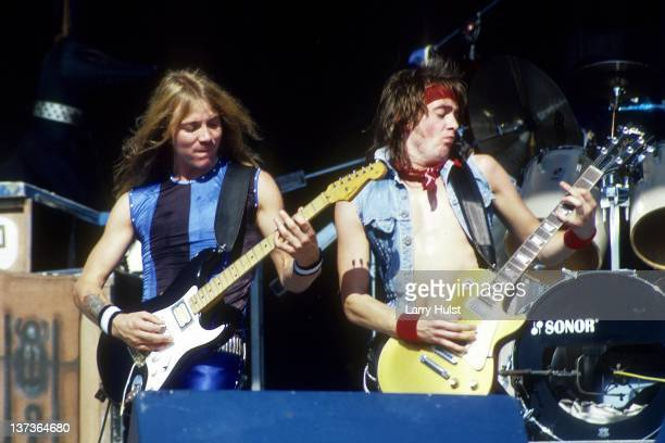 Dave Murray and Adrian Smith performing with 'Iron Maiden' at Cal Expo in Sacramento California on June 28 1990