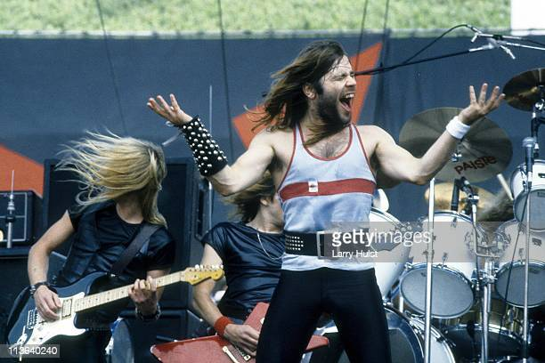 Dave Murray and Bruce Dickinson performing with 'Iron Maiden' at Oakland Coliseum in Oakland, California on July 18, 1982.
