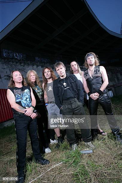 Dave Murray, Janick Gers, Steve Harris, Bruce Dickinson, Nicko McBrain and Adrian Smith of Iron Maiden pose for a group portrait at the Lokomotiv...