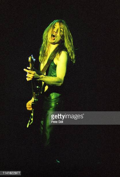 Dave Murray of Iron Maiden performs on stage at Hammersmith Odeon on March 14th, 1980 in London, United Kingdom.