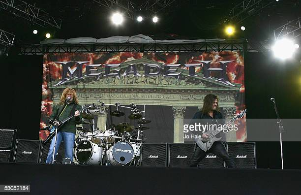 Dave Mustaine and Glen Drover of Megadeth perform on the Main stage day one of this year's Download Festival at Donington Park Castle Donington on...